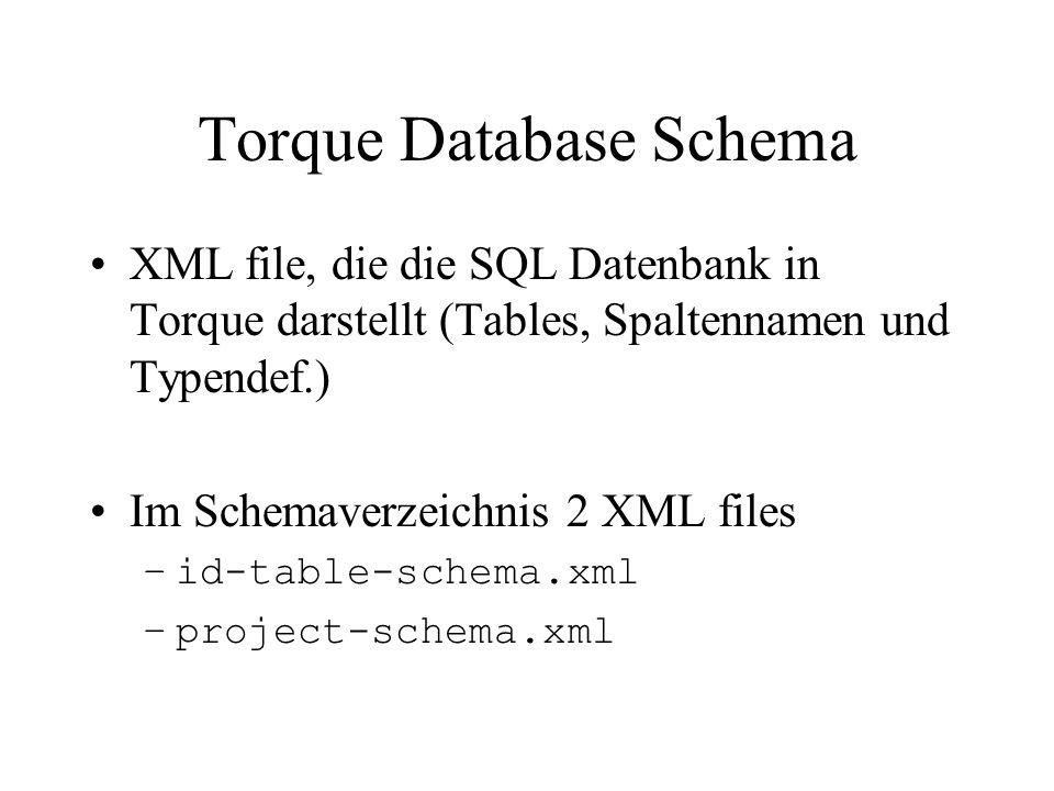 Torque Database Schema (2) Bsp: Bookstore - Datenbank mit drei Table –Autor, Verleger, Buch –AutorID und VerlegerID Fremdschlüssel in Buchtable Genaueres später