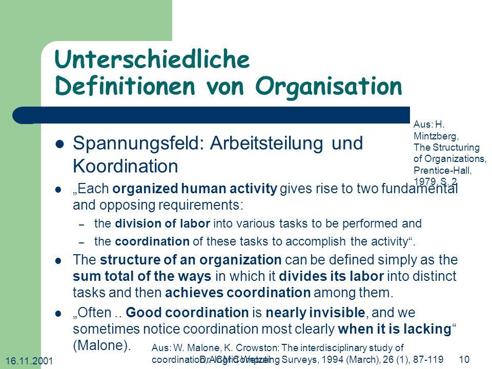 16.11.2001 Dr. Ingrid Wetzel10 Unterschiedliche Definitionen von Organisation Spannungsfeld: Arbeitsteilung und Koordination Each organized human acti