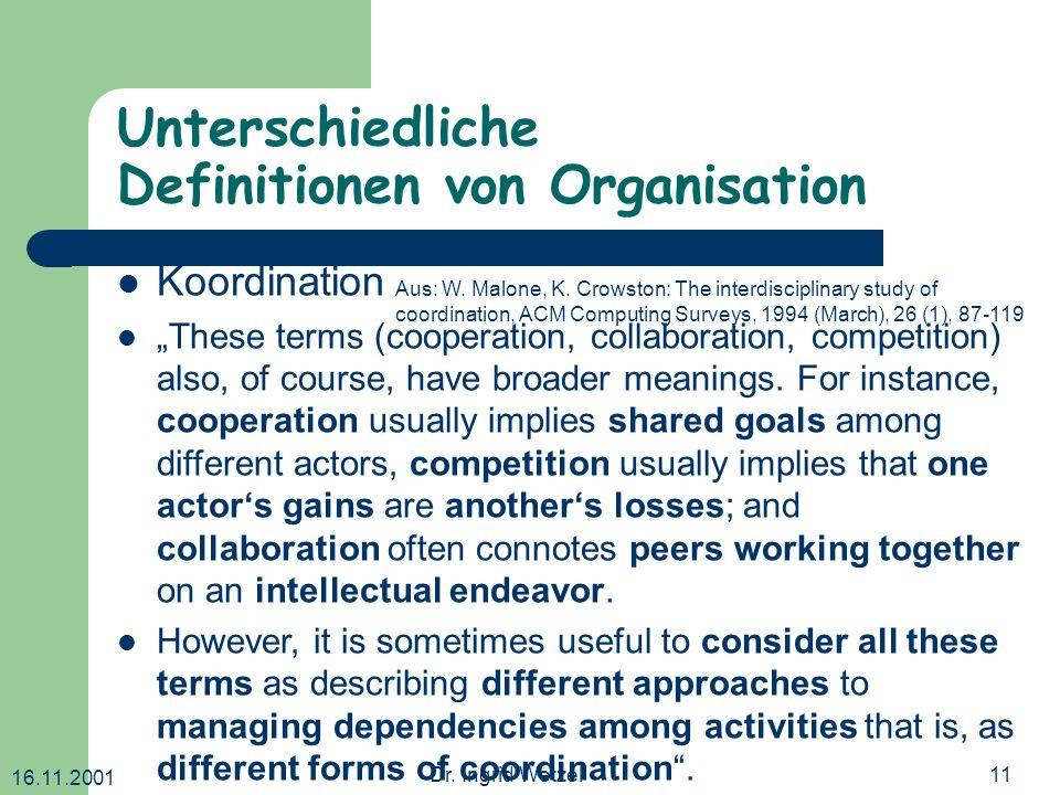 16.11.2001 Dr. Ingrid Wetzel11 Unterschiedliche Definitionen von Organisation Koordination These terms (cooperation, collaboration, competition) also,