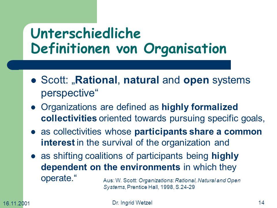 16.11.2001 Dr. Ingrid Wetzel14 Unterschiedliche Definitionen von Organisation Scott: Rational, natural and open systems perspective Organizations are