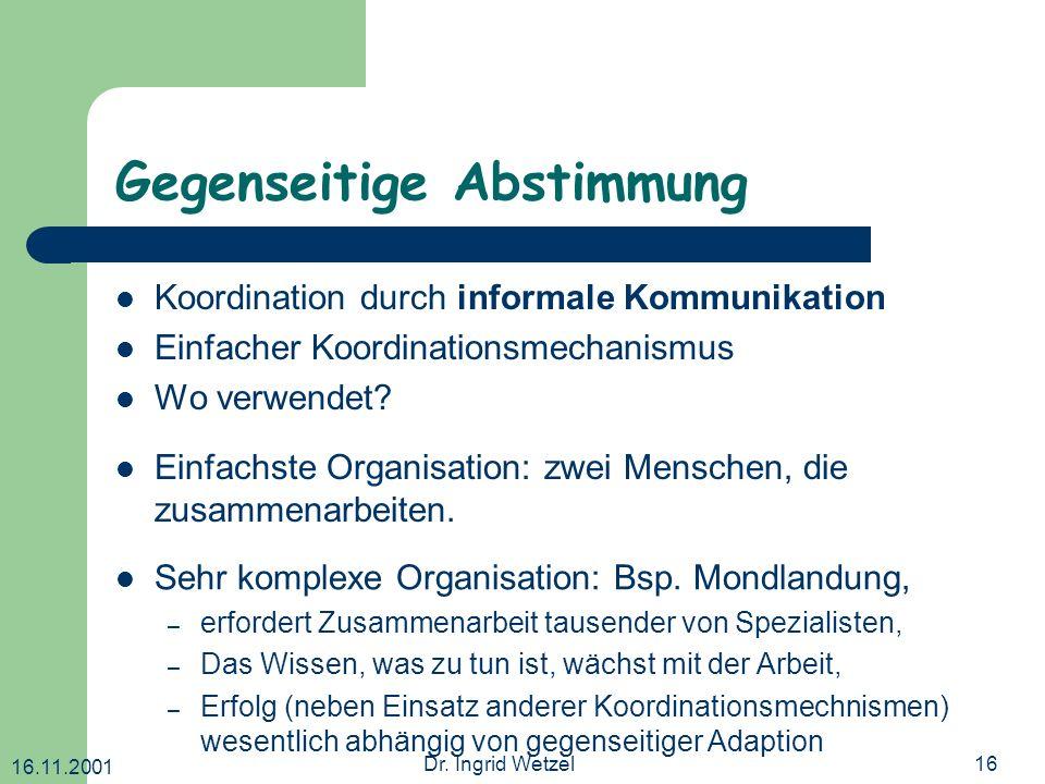 16.11.2001 Dr. Ingrid Wetzel16 Gegenseitige Abstimmung Koordination durch informale Kommunikation Einfacher Koordinationsmechanismus Wo verwendet? Seh