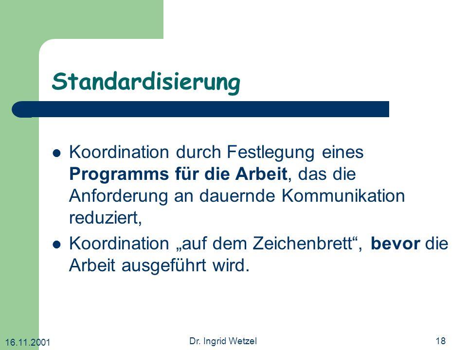 16.11.2001 Dr. Ingrid Wetzel18 Standardisierung Koordination durch Festlegung eines Programms für die Arbeit, das die Anforderung an dauernde Kommunik