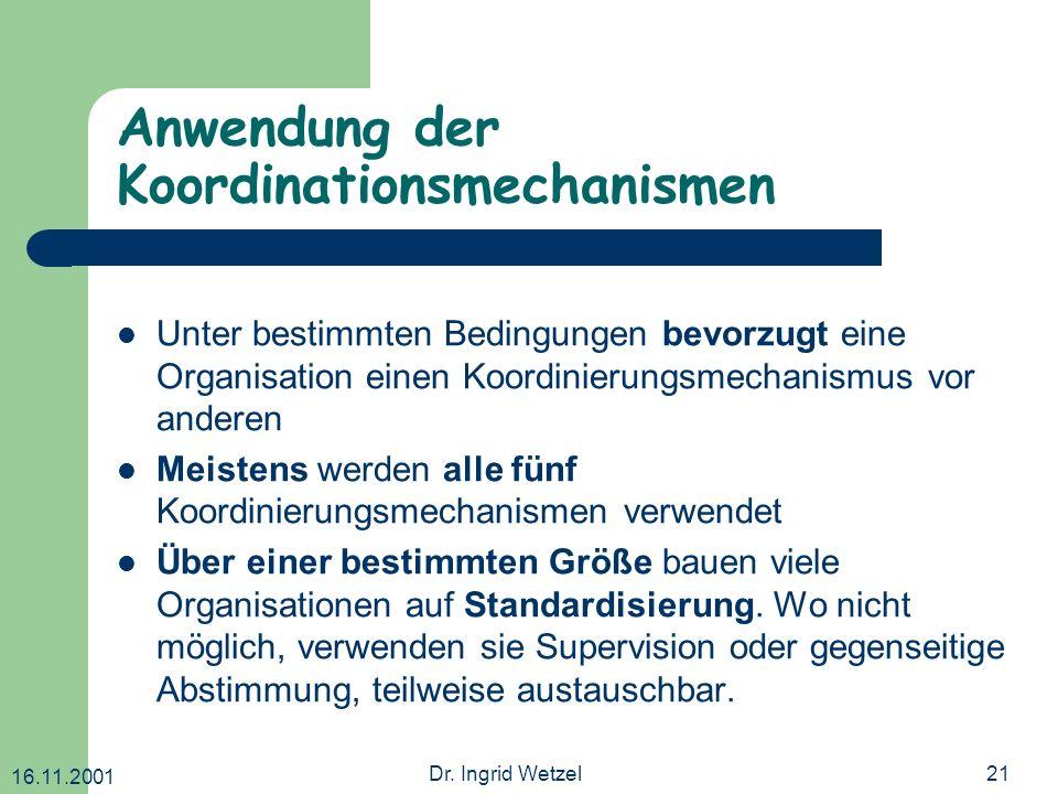 16.11.2001 Dr. Ingrid Wetzel21 Anwendung der Koordinationsmechanismen Unter bestimmten Bedingungen bevorzugt eine Organisation einen Koordinierungsmec