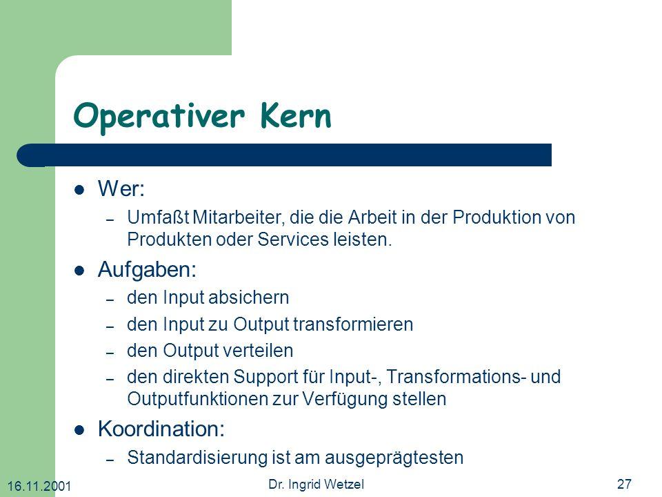 16.11.2001 Dr. Ingrid Wetzel27 Operativer Kern Wer: – Umfaßt Mitarbeiter, die die Arbeit in der Produktion von Produkten oder Services leisten. Aufgab