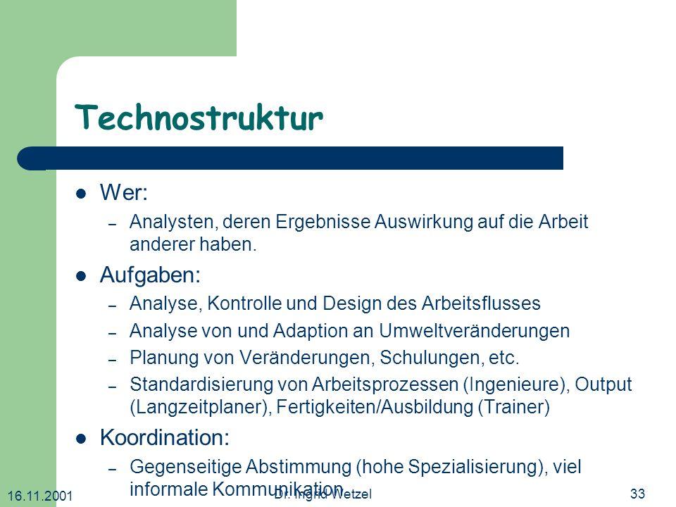 16.11.2001 Dr. Ingrid Wetzel33 Technostruktur Wer: – Analysten, deren Ergebnisse Auswirkung auf die Arbeit anderer haben. Aufgaben: – Analyse, Kontrol