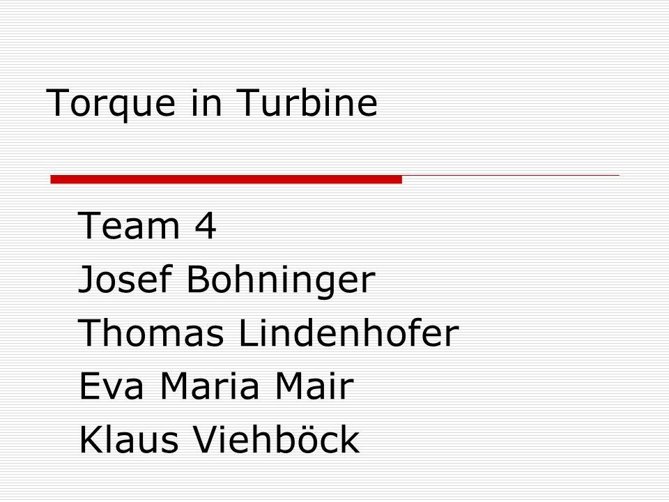 Torque in Turbine Team 4 Josef Bohninger Thomas Lindenhofer Eva Maria Mair Klaus Viehböck