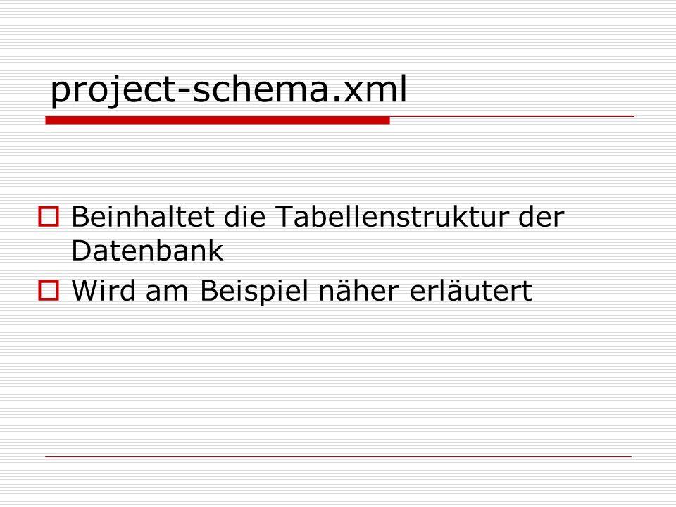 project-schema.xml Beinhaltet die Tabellenstruktur der Datenbank Wird am Beispiel näher erläutert