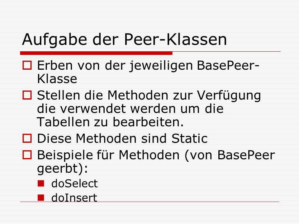 Aufgabe der Peer-Klassen Erben von der jeweiligen BasePeer- Klasse Stellen die Methoden zur Verfügung die verwendet werden um die Tabellen zu bearbeit