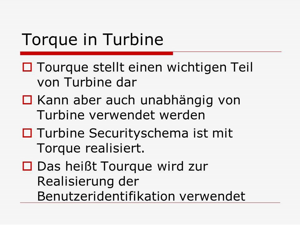 Torque in Turbine Tourque stellt einen wichtigen Teil von Turbine dar Kann aber auch unabhängig von Turbine verwendet werden Turbine Securityschema is