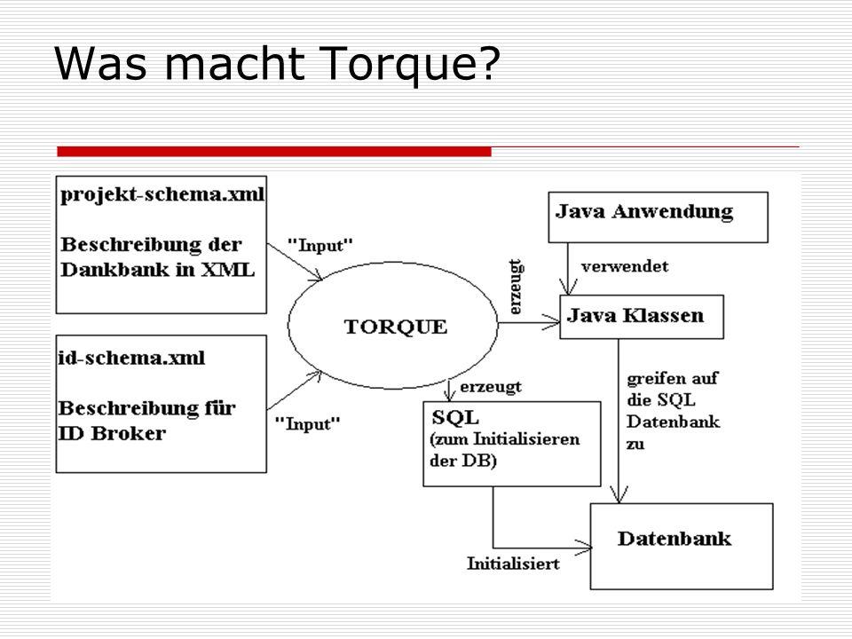 Torque Generator Input: Id-schema.xml Project-schema.xml Torque liefert ein Ant-File build- torque.xml mit Output: id-schema.sql bookstore-schema.sql Java Files