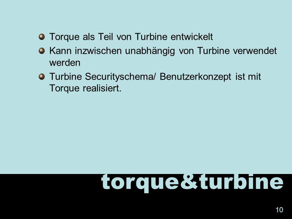 Torque als Teil von Turbine entwickelt Kann inzwischen unabhängig von Turbine verwendet werden Turbine Securityschema/ Benutzerkonzept ist mit Torque