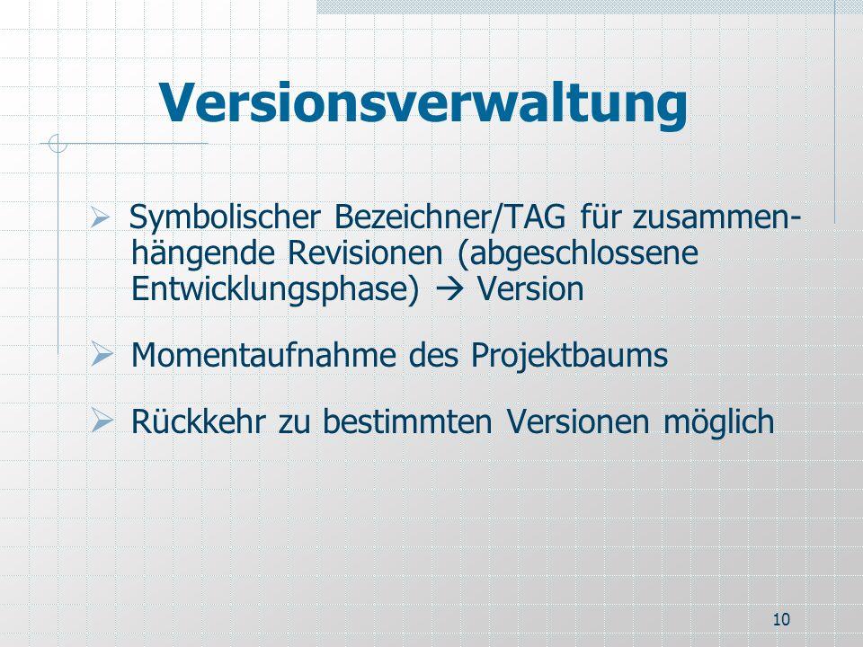 10 Versionsverwaltung Symbolischer Bezeichner/TAG für zusammen- hängende Revisionen (abgeschlossene Entwicklungsphase) Version Momentaufnahme des Proj