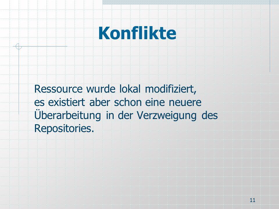 11 Konflikte Ressource wurde lokal modifiziert, es existiert aber schon eine neuere Überarbeitung in der Verzweigung des Repositories.