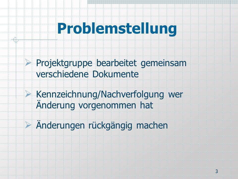 3 Problemstellung Projektgruppe bearbeitet gemeinsam verschiedene Dokumente Kennzeichnung/Nachverfolgung wer Änderung vorgenommen hat Änderungen rückg