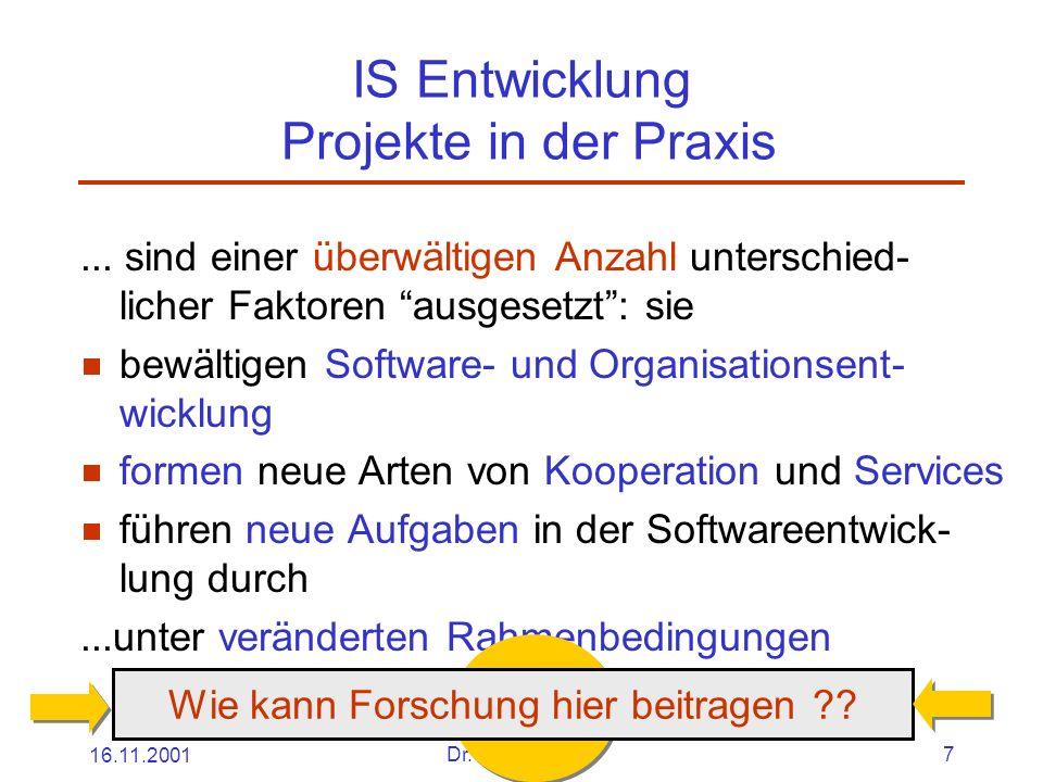 16.11.2001Dr. Ingrid Wetzel7 IS Entwicklung Projekte in der Praxis...