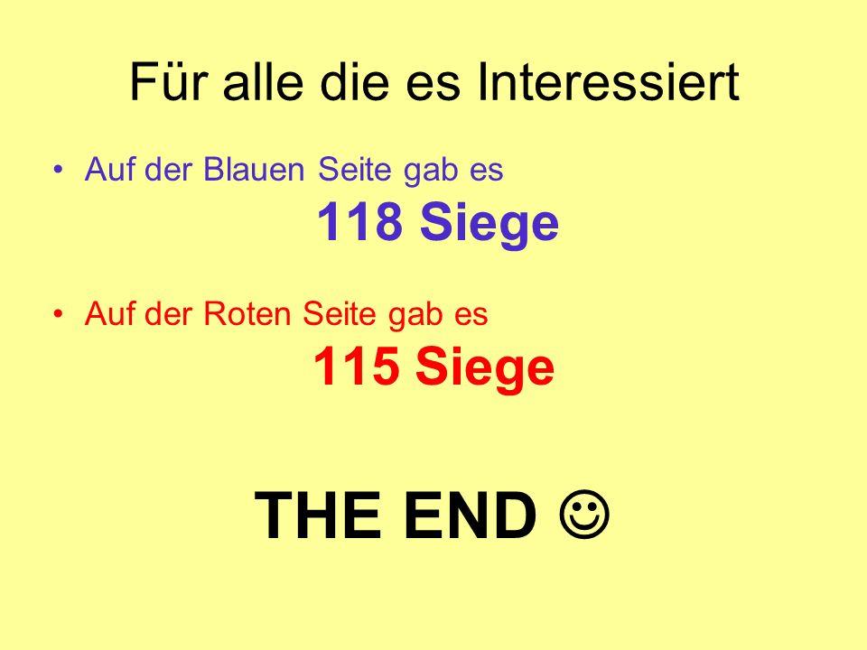 Für alle die es Interessiert Auf der Blauen Seite gab es 118 Siege Auf der Roten Seite gab es 115 Siege THE END