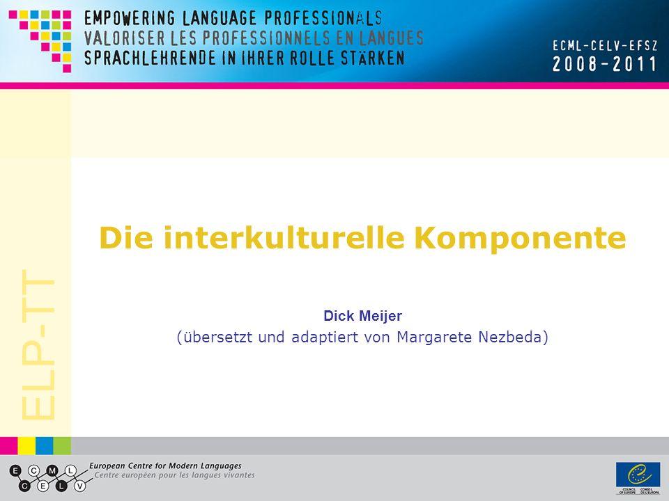 ELP-TT Das ESP und Interkulturalität Die Principles and Guidelines (2000/2004) fordern, dass das ESP das Interesse des Europarates an der Achtung vor sprachlicher un kultureller Vielfalt und unterschiedlichen Lebensweisen widerspiegeln soll.