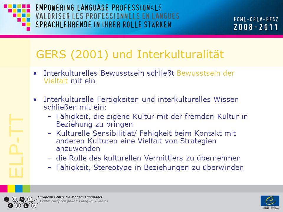 ELP-TT ESP und Interkulturalität (Principles and Guidelines, 2004) Der Sprachenpass beschreibt bedeutende sprachliche und interkulturelle Lernerfahrungen Die Sprachenbiografie ist so aufgebaut, dass sie Mehrsprachigkeit fördern soll Das Dossier bietet Gelegenheit, Arbeiten auszuwählen, die Lernerfahrungen dokumentieren und illustrieren.
