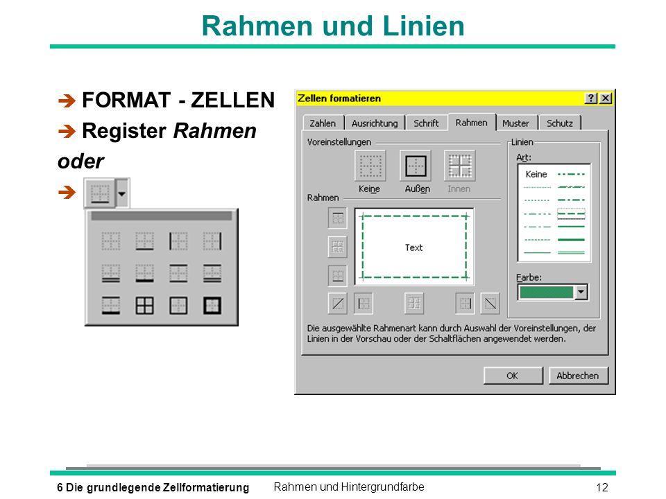 126 Die grundlegende ZellformatierungRahmen und Hintergrundfarbe Rahmen und Linien è FORMAT - ZELLEN è Register Rahmen oder è