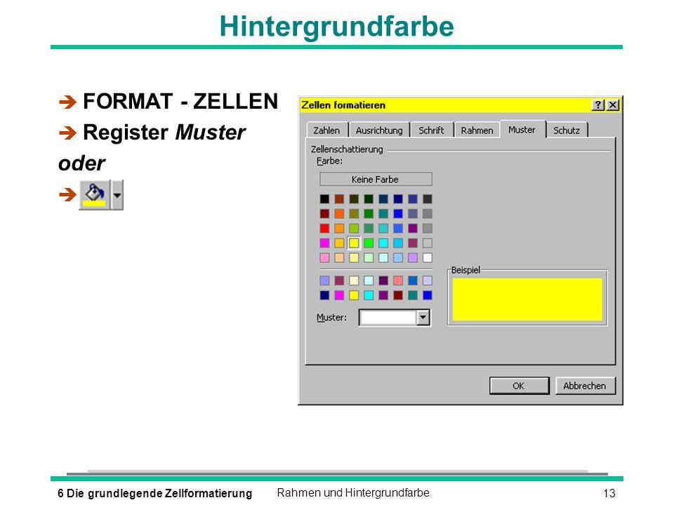 136 Die grundlegende ZellformatierungRahmen und Hintergrundfarbe Hintergrundfarbe è FORMAT - ZELLEN è Register Muster oder è