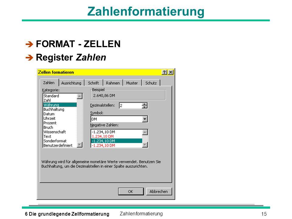 156 Die grundlegende ZellformatierungZahlenformatierung è FORMAT - ZELLEN è Register Zahlen