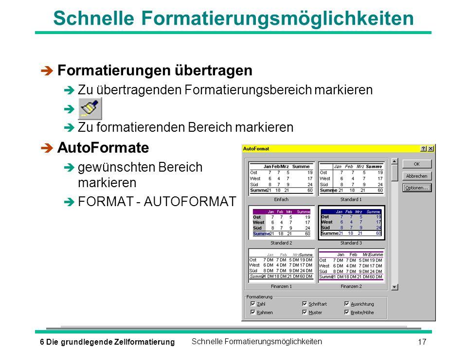 176 Die grundlegende ZellformatierungSchnelle Formatierungsmöglichkeiten è Formatierungen übertragen è Zu übertragenden Formatierungsbereich markieren è è Zu formatierenden Bereich markieren è AutoFormate è gewünschten Bereich markieren è FORMAT - AUTOFORMAT