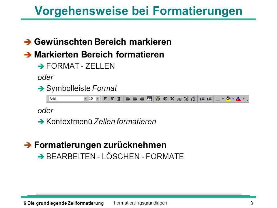 36 Die grundlegende ZellformatierungFormatierungsgrundlagen Vorgehensweise bei Formatierungen è Gewünschten Bereich markieren è Markierten Bereich formatieren è FORMAT - ZELLEN oder è Symbolleiste Format oder è Kontextmenü Zellen formatieren è Formatierungen zurücknehmen è BEARBEITEN - LÖSCHEN - FORMATE
