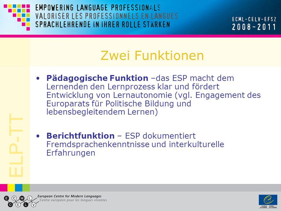 ELP-TT Hauptmerkmale Förderung von Mehrsprachigkeit und Interkulturalität Wertschätzung aller Sprachen und Kulturen Motivation zum Sprachenlernen und interkulturellem Lernen innerhalb und außerhalb von Erziehungsinstitutionen Selbsteinschätzung durch die Lernenden mit Hilfe der Niveaus des Gemeinsamen europäischen Referenzrahmens