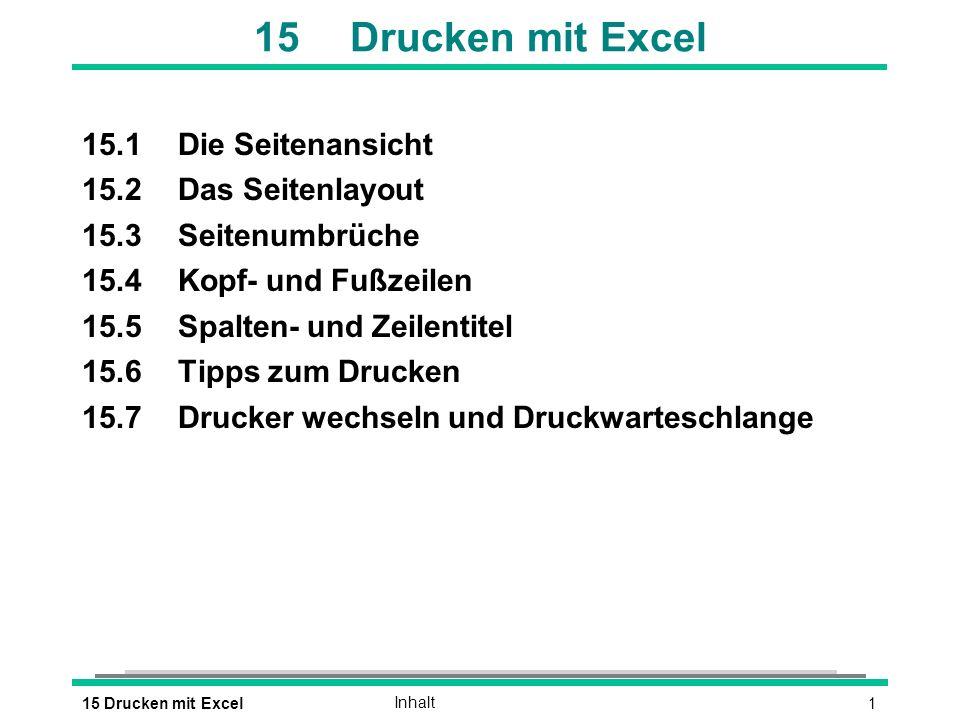 115 Drucken mit ExcelInhalt 15Drucken mit Excel 15.1Die Seitenansicht 15.2Das Seitenlayout 15.3Seitenumbrüche 15.4Kopf- und Fußzeilen 15.5Spalten- und
