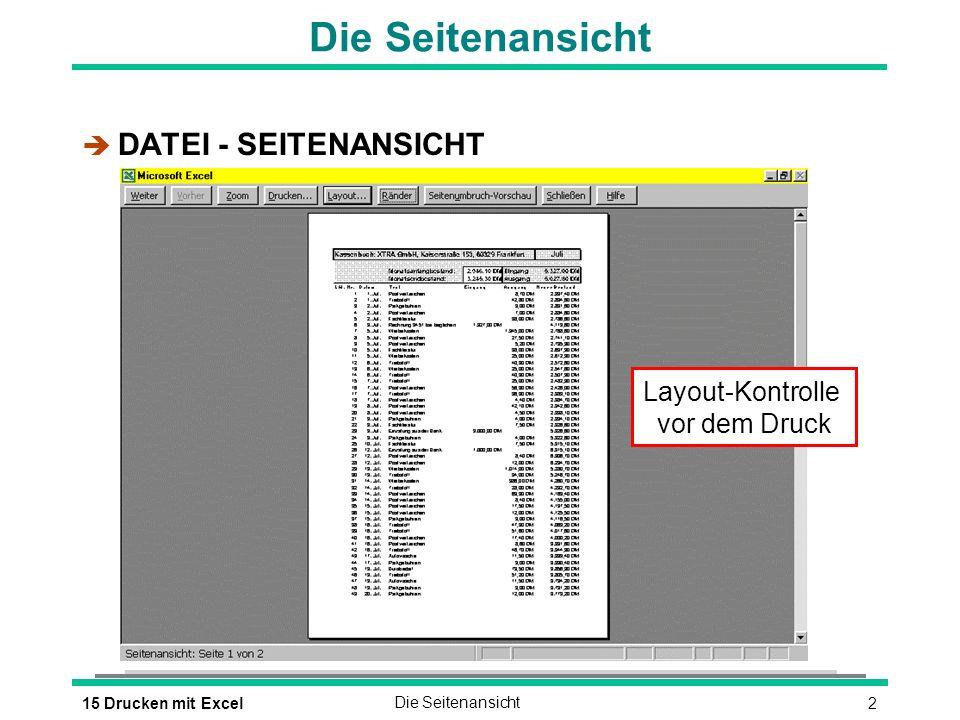 315 Drucken mit ExcelDas Seitenlayout Das Seitenlayout festlegen è DATEI - SEITE EINRICHTEN oder è Schaltfläche Layout in der Seitenansicht