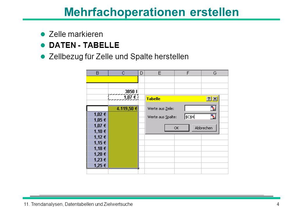 11. Trendanalysen, Datentabellen und Zielwertsuche4 Mehrfachoperationen erstellen l Zelle markieren l DATEN - TABELLE l Zellbezug für Zelle und Spalte