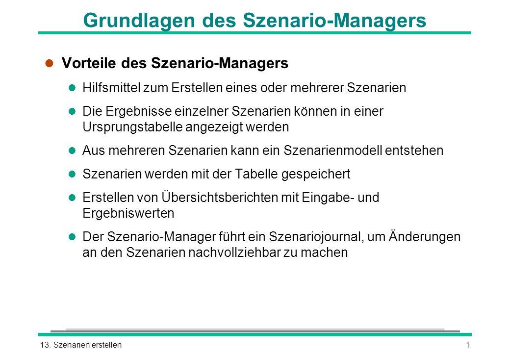 13. Szenarien erstellen1 Grundlagen des Szenario-Managers l Vorteile des Szenario-Managers l Hilfsmittel zum Erstellen eines oder mehrerer Szenarien l