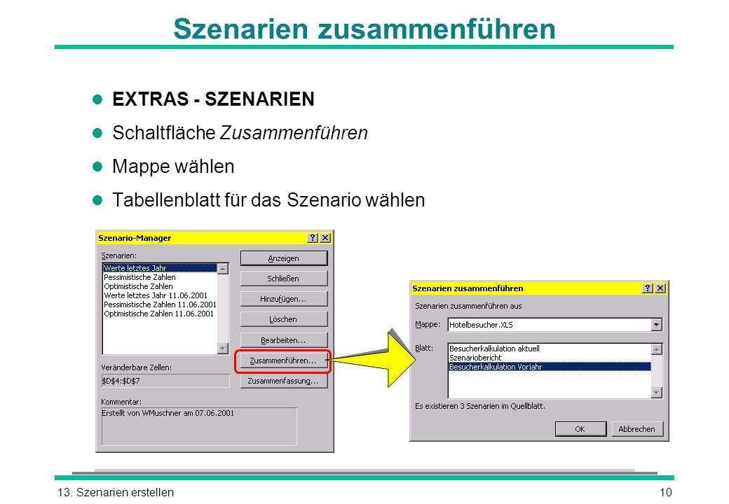 13. Szenarien erstellen10 Szenarien zusammenführen l EXTRAS - SZENARIEN l Schaltfläche Zusammenführen l Mappe wählen l Tabellenblatt für das Szenario