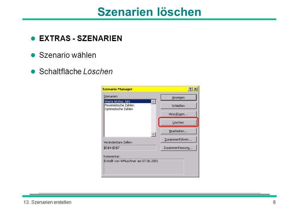 13. Szenarien erstellen8 Szenarien löschen l EXTRAS - SZENARIEN l Szenario wählen l Schaltfläche Löschen