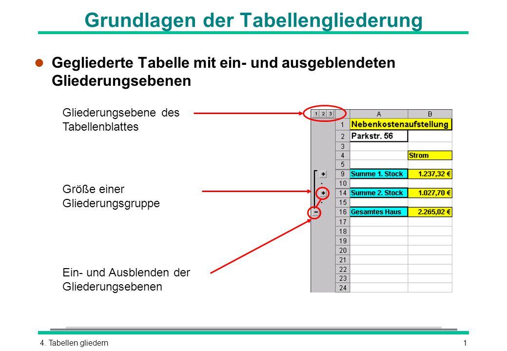 4. Tabellen gliedern1 Grundlagen der Tabellengliederung l Gegliederte Tabelle mit ein- und ausgeblendeten Gliederungsebenen Größe einer Gliederungsgru