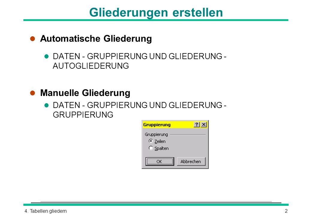 4. Tabellen gliedern2 Gliederungen erstellen l Automatische Gliederung l DATEN - GRUPPIERUNG UND GLIEDERUNG - AUTOGLIEDERUNG l Manuelle Gliederung l D