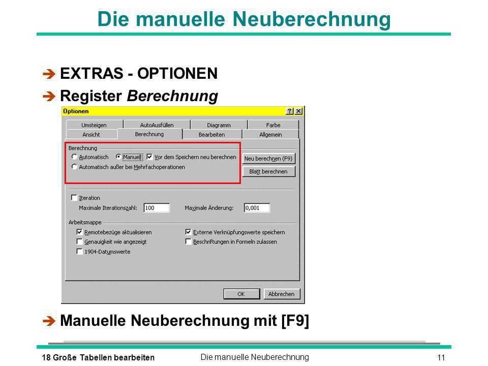 1118 Große Tabellen bearbeitenDie manuelle Neuberechnung è EXTRAS - OPTIONEN è Register Berechnung Manuelle Neuberechnung mit [F9]