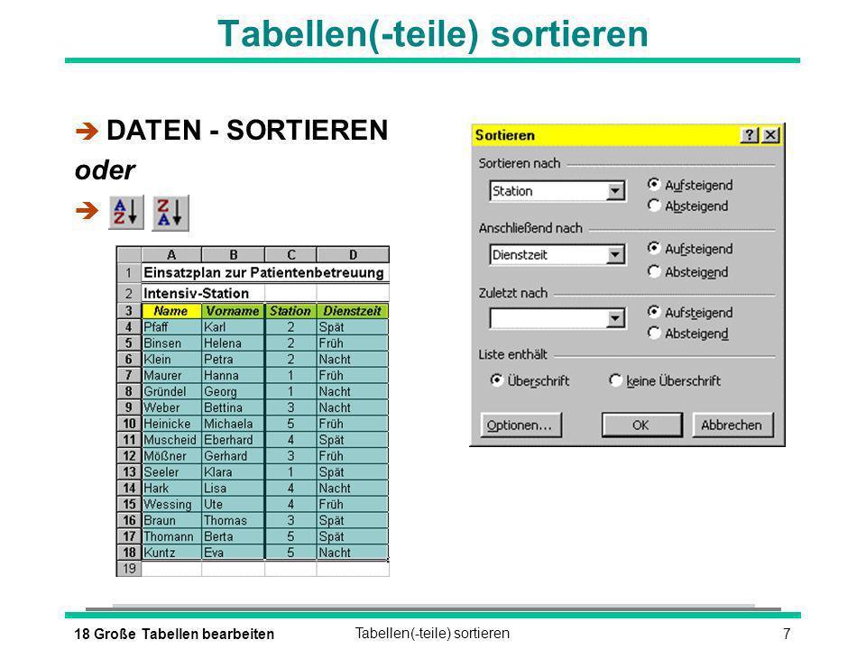 818 Große Tabellen bearbeitenDie automatische Eingabekorrektur è EXTRAS - AUTOKORREKTUR