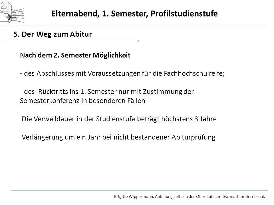 Elternabend, 1. Semester, Profilstudienstufe Brigitte Wippermann, Abteilungsleiterin der Oberstufe am Gymnasium Bornbrook 5. Der Weg zum Abitur Nach d
