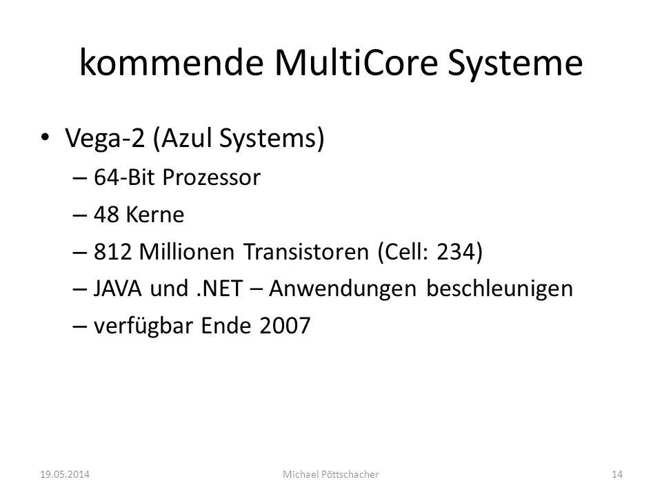 kommende MultiCore Systeme Vega-2 (Azul Systems) – 64-Bit Prozessor – 48 Kerne – 812 Millionen Transistoren (Cell: 234) – JAVA und.NET – Anwendungen b