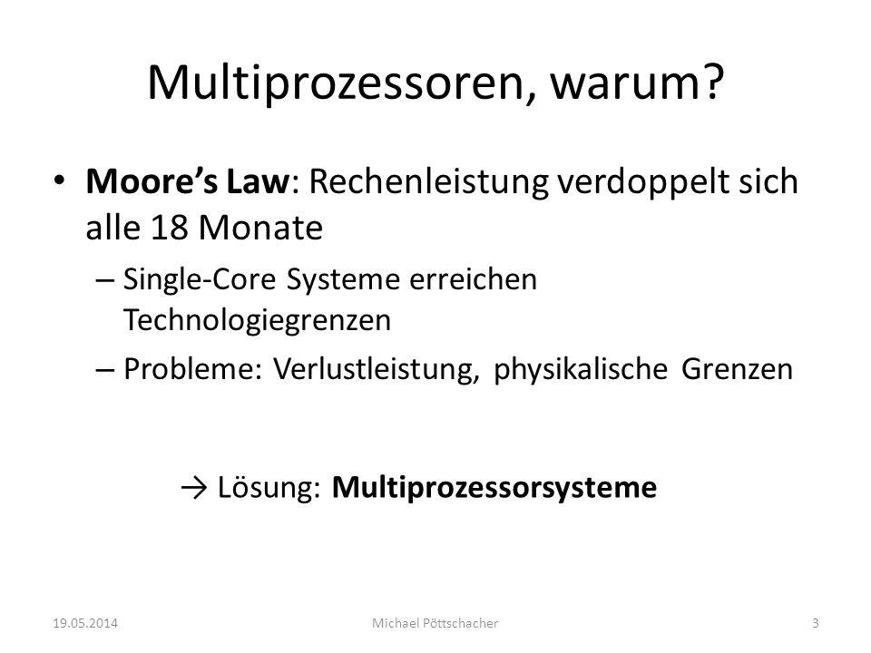Multiprozessoren, warum? Moores Law: Rechenleistung verdoppelt sich alle 18 Monate – Single-Core Systeme erreichen Technologiegrenzen – Probleme: Verl