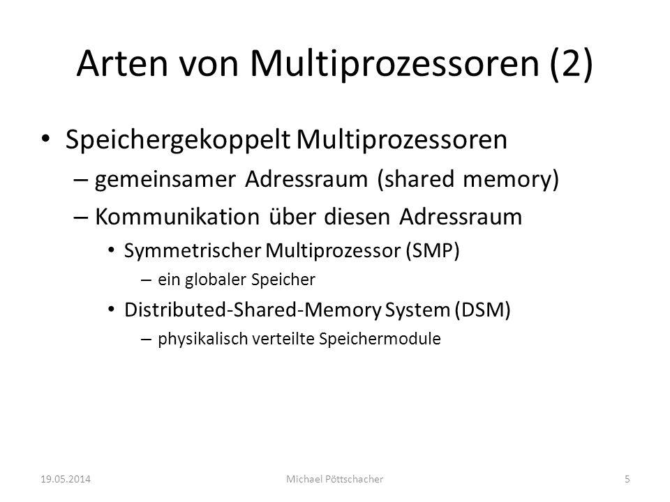 Arten von Multiprozessoren (2) Speichergekoppelt Multiprozessoren – gemeinsamer Adressraum (shared memory) – Kommunikation über diesen Adressraum Symm