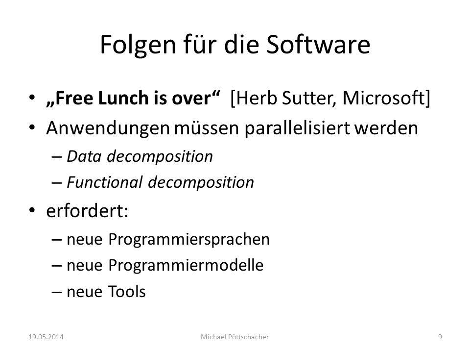 Folgen für die Software Free Lunch is over [Herb Sutter, Microsoft] Anwendungen müssen parallelisiert werden – Data decomposition – Functional decompo