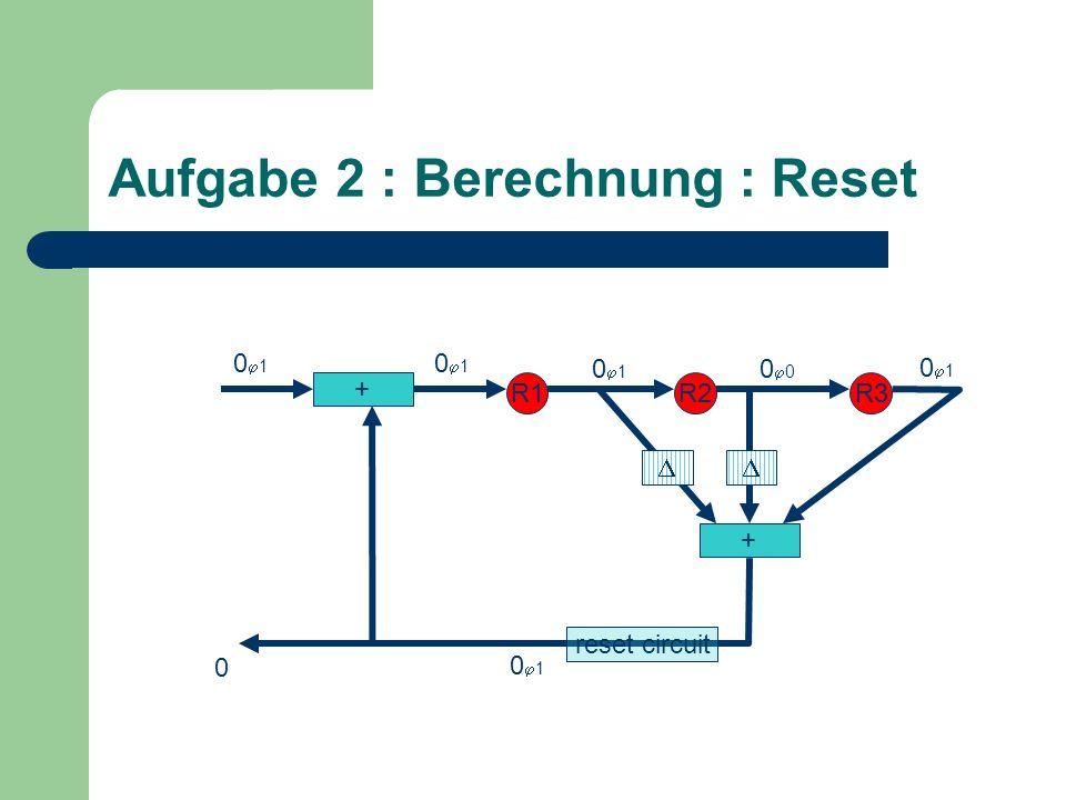Aufgabe 2 : Berechnung : Reset + R1R2R3 + 0 0 1 0 0 1 reset circuit