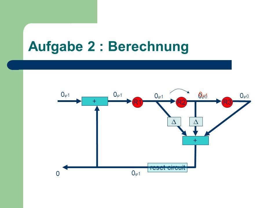 Aufgabe 2 : Berechnung + R1R2R3 + 0 0 1 0 0 1 0 reset circuit
