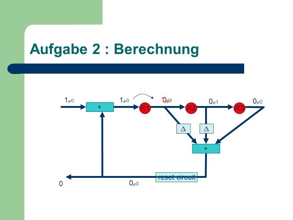 Aufgabe 2 : Berechnung + R1R2R3 + 0 1 0 1 0 0 reset circuit