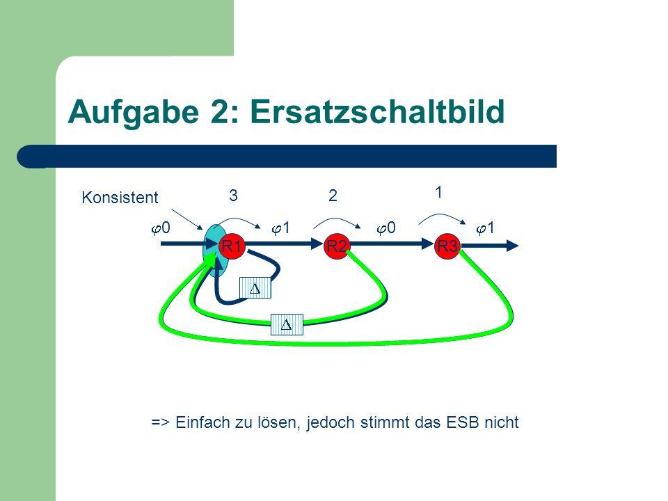 Konsistent Aufgabe 2: Ersatzschaltbild R1R2R3 => Einfach zu lösen, jedoch stimmt das ESB nicht 1 23 0 1 1 0