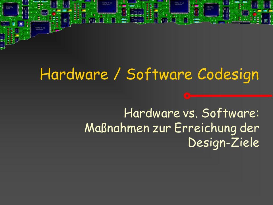 Hardware / Software Codesign Hardware vs. Software: Maßnahmen zur Erreichung der Design-Ziele