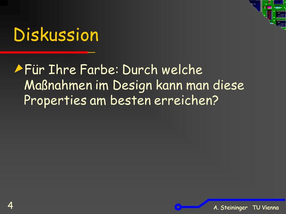 A. Steininger TU Vienna 4 Diskussion Für Ihre Farbe: Durch welche Maßnahmen im Design kann man diese Properties am besten erreichen?