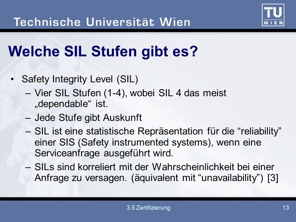 3.5 Zertifizierung13 Welche SIL Stufen gibt es.